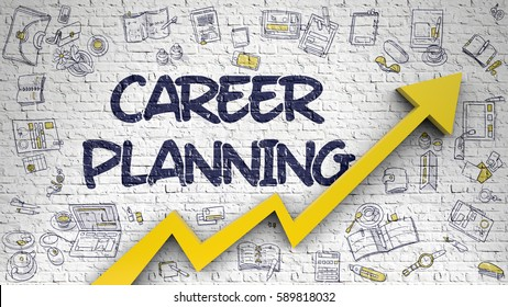 Career Planning Drawn on White Brickwall. Illustration with Doodle Icons. Career Planning - Business Concept with Doodle Icons Around on White Wall Background.