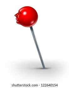 Career position concept with a red push pin in the shape of a human head as a symbol of finding your working place in life with search and discovery on a white background.