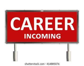Career. Road sign on the white background. Raster illustration.