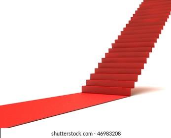 Career stairs. Red carpet