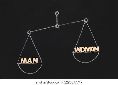 Career success, competition, gender gap and employment issues. Word Man outweigh Woman on drawn scales, blackboard background