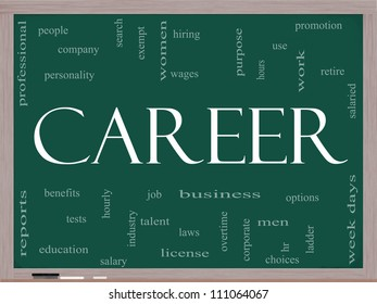 Career Word Cloud Concept on a Blackboard with great terms such as promotion, work, retire, salaried, hr, ladder, corporate and more.