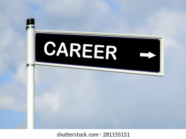 Career word on road sign on sky background