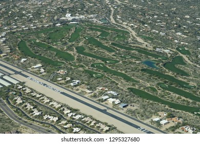 Carefree, Arizona / USA - January 19 2019: Aerial view of SkyRanch Carefree airport located in a north Phoenix suburb, which borders the Desert Mountain community in Scottsdale and Cave Creek.
