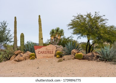 Carefree, AZ - Dec. 2, 2019: The sign for the Town of Carefree, a town planned by Tom Darlington and K.T.Palmer in the 1950s.