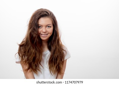 carefree beautiful girl dressed casually with positive expression. close up portrait. copy space. copy space.spa , wellness concepts