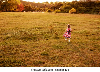 Carefree Child runs around the field in the evening,  Beautiful Girl in a lush dress is Playing Outdoors,  Baby is running with her back to the camera, Background toning for instagram filter