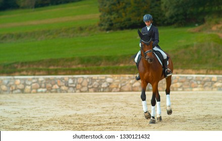 Carefree female English rider doing canter renvers at a dressage competition. Dressage horseback rider riding canter traver with her big brown horse. Caucasian girl horseback rider training her horse.