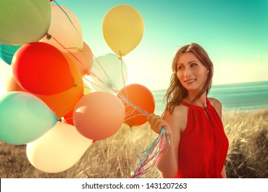 carefree female tendering on the beach