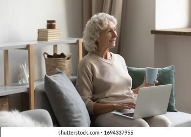 Carefree peaceful middle aged senior woman sitting on sofa with computer on knees, holding cup mug of hot tea, looking away, thinking visualizing future, enjoying good morning time alone at home.
