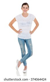 carefree teen girl full length portrait