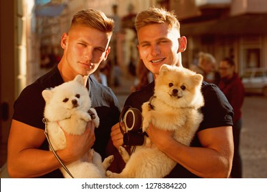 Carefree time together. Twins men hold pedigree dogs. Muscular men with dog pets. Happy twins with muscular look. Spitz dogs love the company of their family. Happy family on walk.