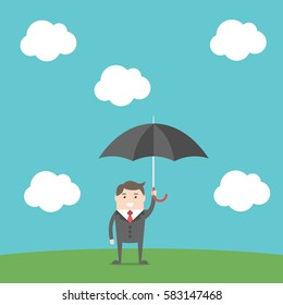 Careful businessman with umbrella standing on green ground under blue sky with white clouds. Flat design