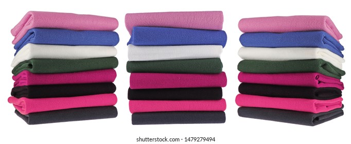Careful Stack Woolen Cashmere. Isolated image on a white background. Stock Photo. Set.