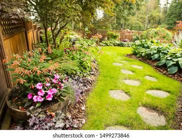 Carefully designed back yard garden.