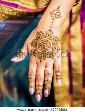 Carefully Painted Intricate Design Using Henna Stock Photo Edit Now