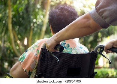 Caregiver is pushing her patient on a wheelchair in open air in the garden