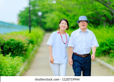 Caregiver and senior male