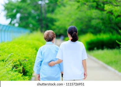 Caregiver and senior women