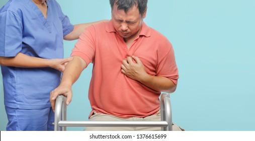 Caregiver take care  patient man ,heart disease.