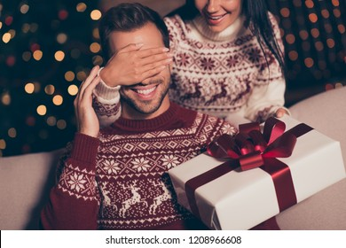 Careless, carefree, adorable lady hold big white package with bow, close eyes her man, who sit on cozy couch in living room with sparkles garland decorations on pine tree on background