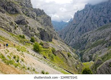 The Cares Gorge (Rio Cares) and Cares Trail (Ruta del Cares), Picos de Europa, Asturias, Spain.