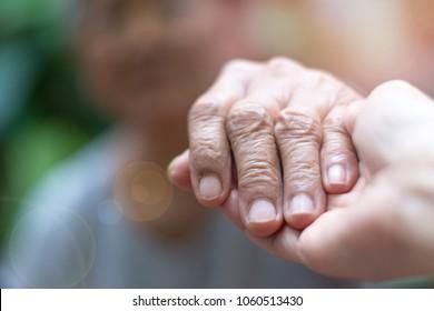 Caretaker, carer hand holding elder hand woman in hospice care. Philanthropy kindness to disabled concept.