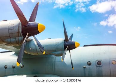 Cargo aircraft screws. Two engines turboprop cargo aircraft