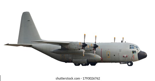 Cargo airplane 4 engines 4 propellers parking isolated on white background. This has clipping path.