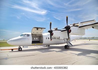 Cargo airplane at Billy Bishop airport, Toronto