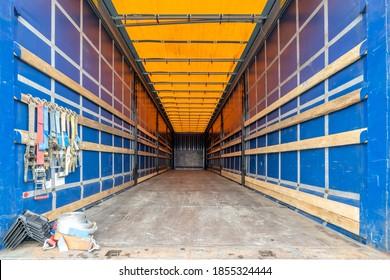 cargo area of a curtain side semitrailer