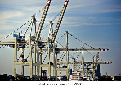 Cargo container cranes at Hamburg(Germany) harbor