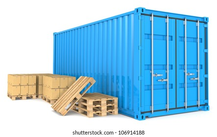 Cargo Container and Goods. Blue Cargo Container, pallets and cardboard boxes. Warehouse and distribution series.