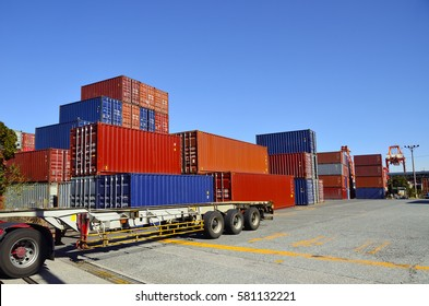 cargo container in import export logistic zone