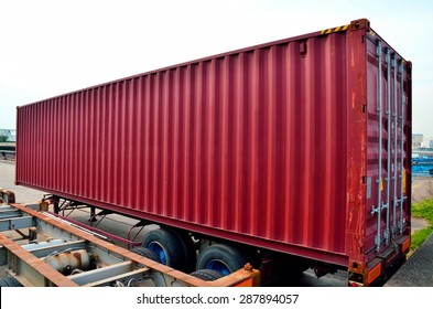 Cargo container on semi trailer chassis