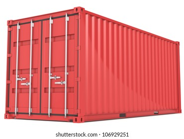 Cargo Container. Red Cargo Container. Perspective view.
