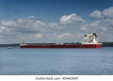 Cargo container ship, 1000 Islands Region. Kingston. Summer. Ontario. Canada