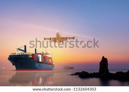 Cargo Container Ship Airplane Import Export Stock Photo