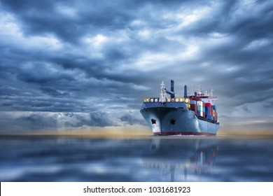 cargo container ship running in the ocean between storm cloud concept freight shipping by ship.