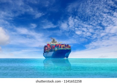 Cargo Container ship sailing in the sea go to Logistics import export background of container Cargo ship in seaport on blue sky, freight Transportation