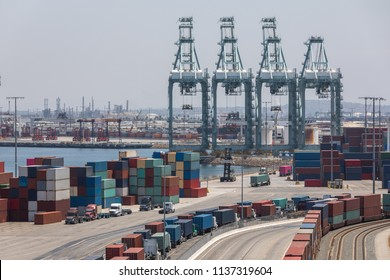 Cargo container shipping yard