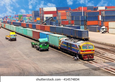 Cargo container train in the warehouse.
