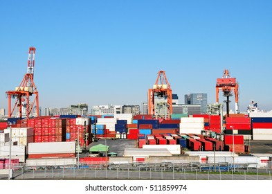 Cargo container yard, the Port of Tokyo, Japan