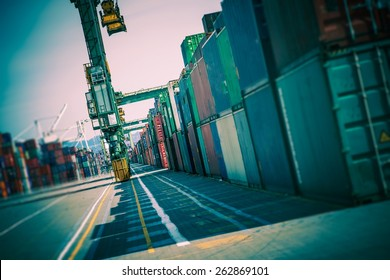 Cargo Containers Alley. Shipping Containers Lot. Shipping and Logistic Theme.