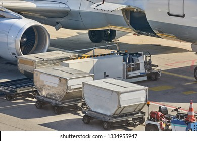 Cargo containers loaded into an airliner