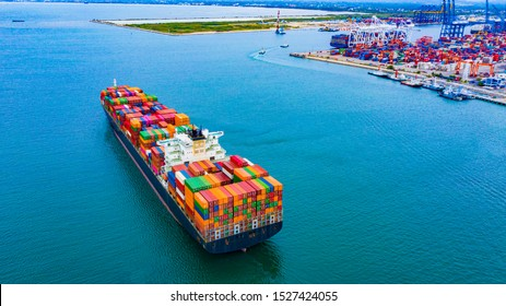 Cargo containers ship logistics transportation Container Ship Vessel Cargo Carrier. import export logistic international export and import services export products worldwide