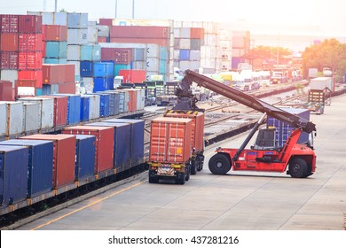 Cargo containers in shipping yard for transportation, import,export,  logistic industrial.