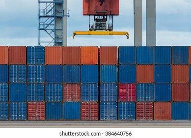 Cargo containers at shipyard