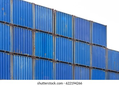 Cargo Containers Stack at the Pier docks