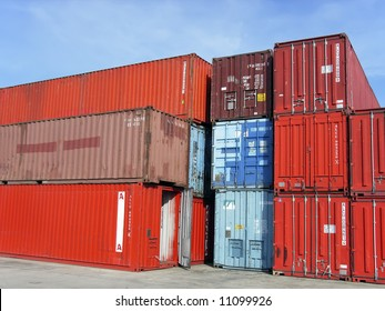 Cargo containers stacked on a pier